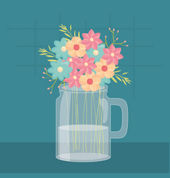 Mason jar glass with floral decoration vector