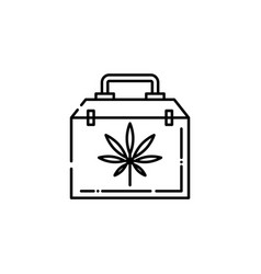 medical case with cannabis leaf line icon - thin vector image