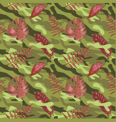 Military seamless pattern with tropical leaves vector