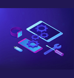 Mobile device repair concept isometric vector