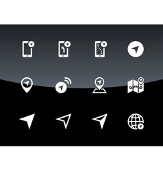 Navigator icons on black background vector image