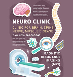 Neurology diagnostic and treatment clinic poster vector