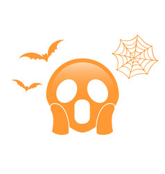 orange scary and spooky face flat icon with vector image