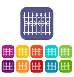 Park fence icons set flat vector