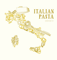 pasta in shape italy hand drawn food vector image