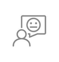 person with neutral face in speech bubble line vector image