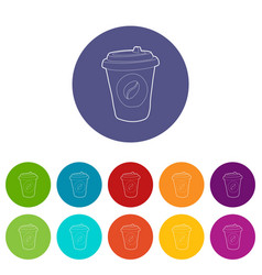 plastic cup of coffee icon outline style vector image