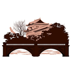 Postcard with Japanese houses vector