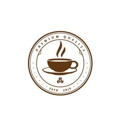 premium coffee cup cafe restaurant label logo vector image