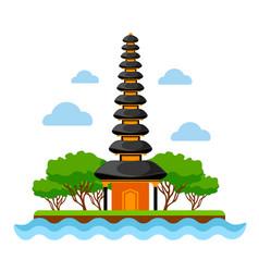Pura ulun danu beratan temple vector