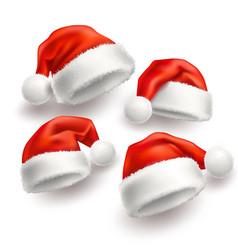 realistic santa christmas holiday hat set vector image
