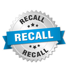Recall round isolated silver badge vector