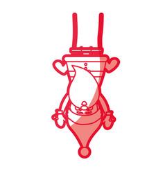 Red silhouette caricature of santa claus pendant vector
