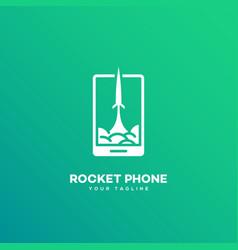 rocket phone logo vector image