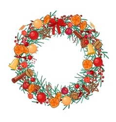 Round festive wreath with fruits cookies berries vector image