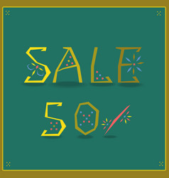 Sale fifty percents unusual font vector