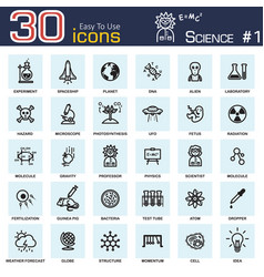 Science icons outline design vector