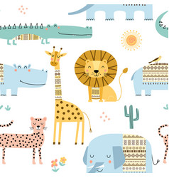 Seamless childish pattern with cute african vector