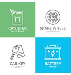Set car service and auto repair logo or vector