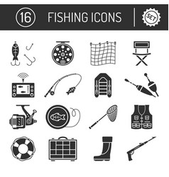 set fishing icons in silhouette flat style vector image