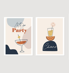 set new years greeting cards party invitations vector image