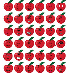 Set of red apple character emojis vector