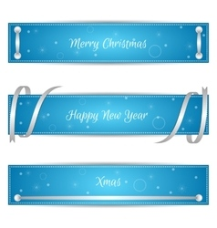 Set of three horizontal blue festive Christmas vector image