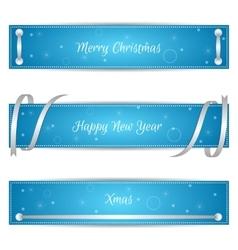 Set of three horizontal blue festive Christmas vector image vector image