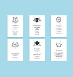 Set wedding stationery vector