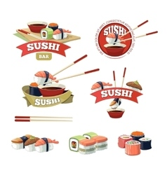Set with sushi banners vector
