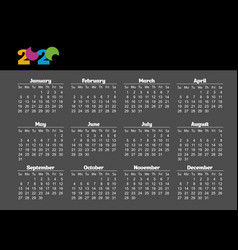 simple pocket calendar 2018 year on black vector image