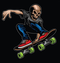 Skull riding skateboard and doing the stunt vector