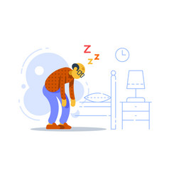 Sleepy old man sleep deprived or disorder vector