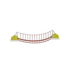 Small hanging wooden bridge and green bushes vector