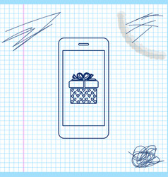 smartphone with gift box and heart symbol on the vector image