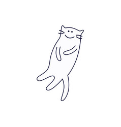 smiling cute cat lying on its back outline sketch vector image