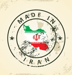Stamp with map flag of Iran vector image