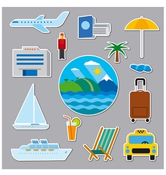 stickers and badges of tropical resort vector image