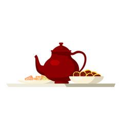 Teapot and cookies flat vector