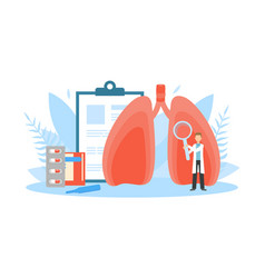 tiny doctor examining huge human lungs vector image