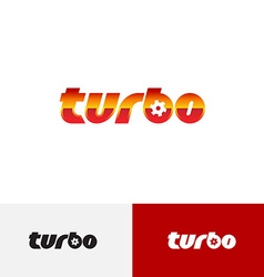 Turbo word text logo with turbine charger fan vector image