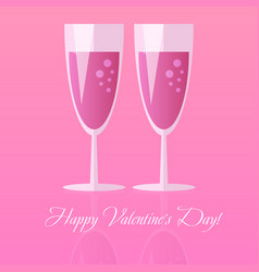 Two glasses of champagne for saint valentines day vector
