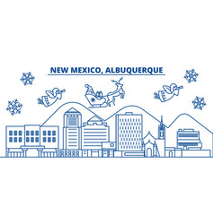 usa new mexico albuquerque winter city skyline vector image