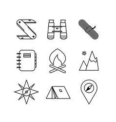 various adventure thin line icon design vector image