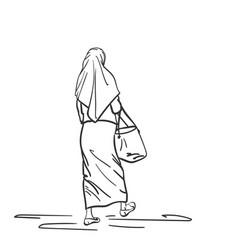 walking muslim woman back view hand drawn linear vector image