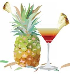 Watercolor Pineapple and Cosmopolitan glass vector