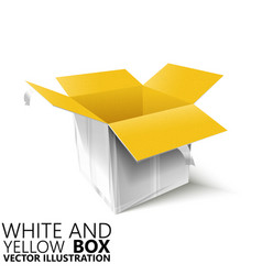 White and yellow open box 3d vector