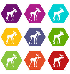 moose icon set color hexahedron vector image