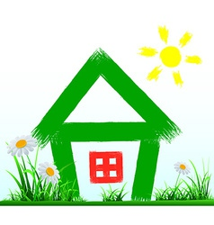 painted house stands on the lawn vector image vector image