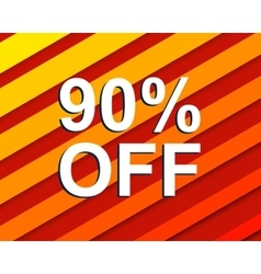 Red striped sale poster with 90 percent off text vector
